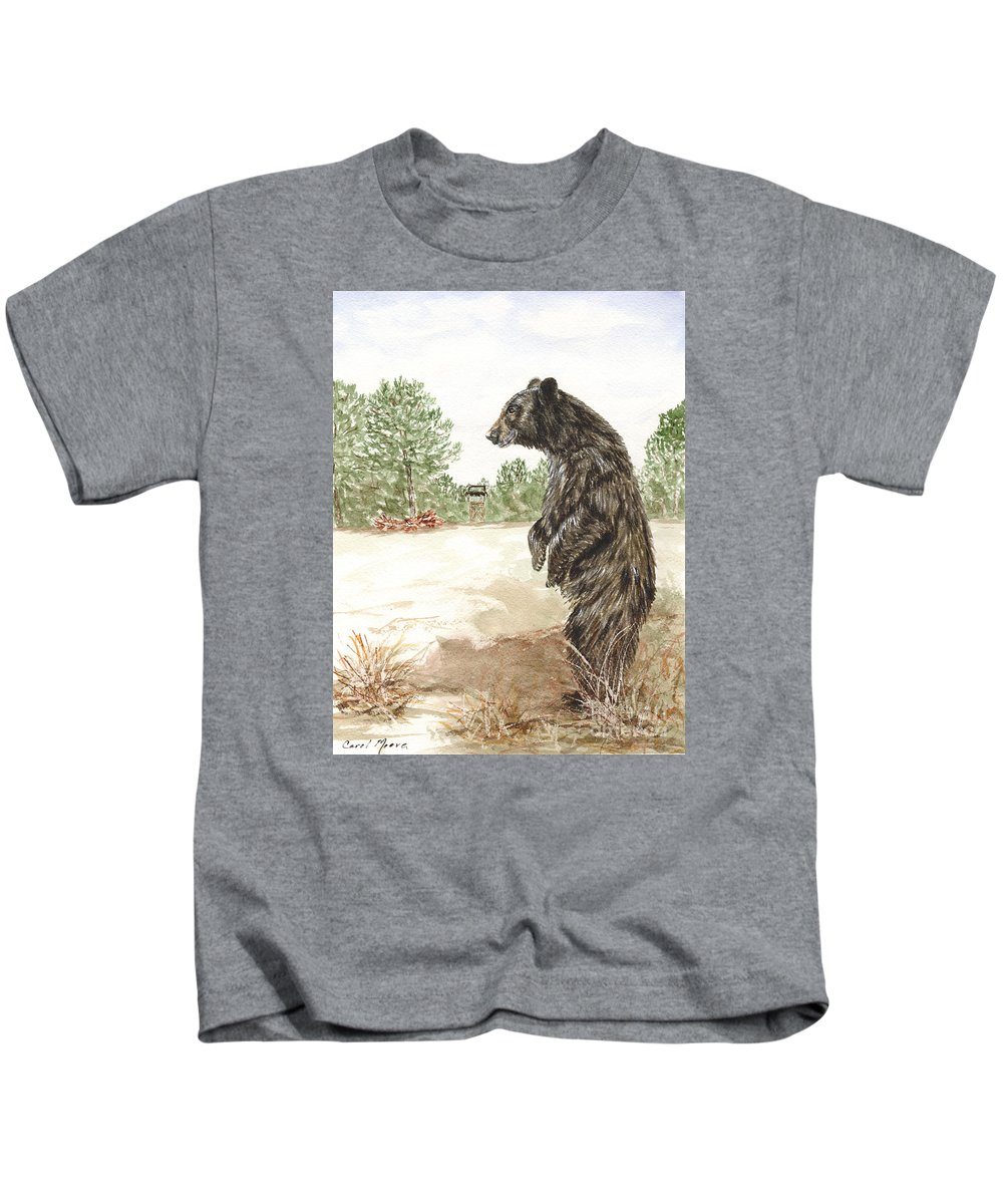 Bear Kids T-Shirt featuring the painting Hunting by Carol Moore