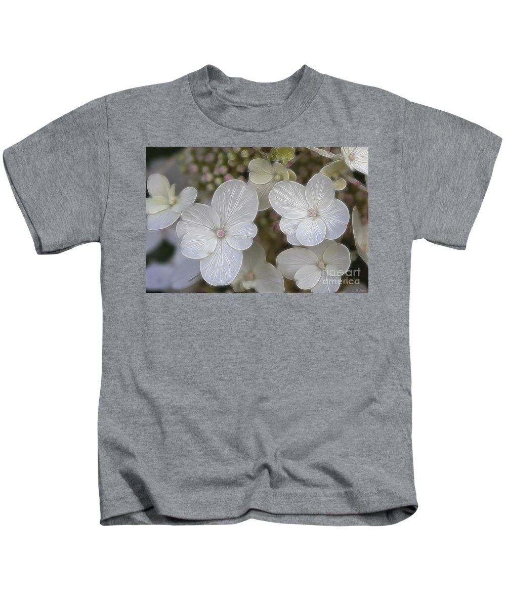 Flowers Kids T-Shirt featuring the mixed media Hydrangea Fractalius by Deborah Benoit