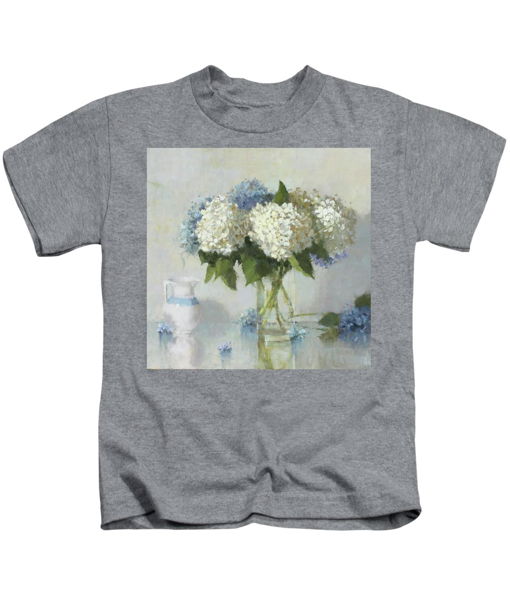Oil On Canvas Kids T-Shirt featuring the painting Hydrangeas For Susan by Hope Reis