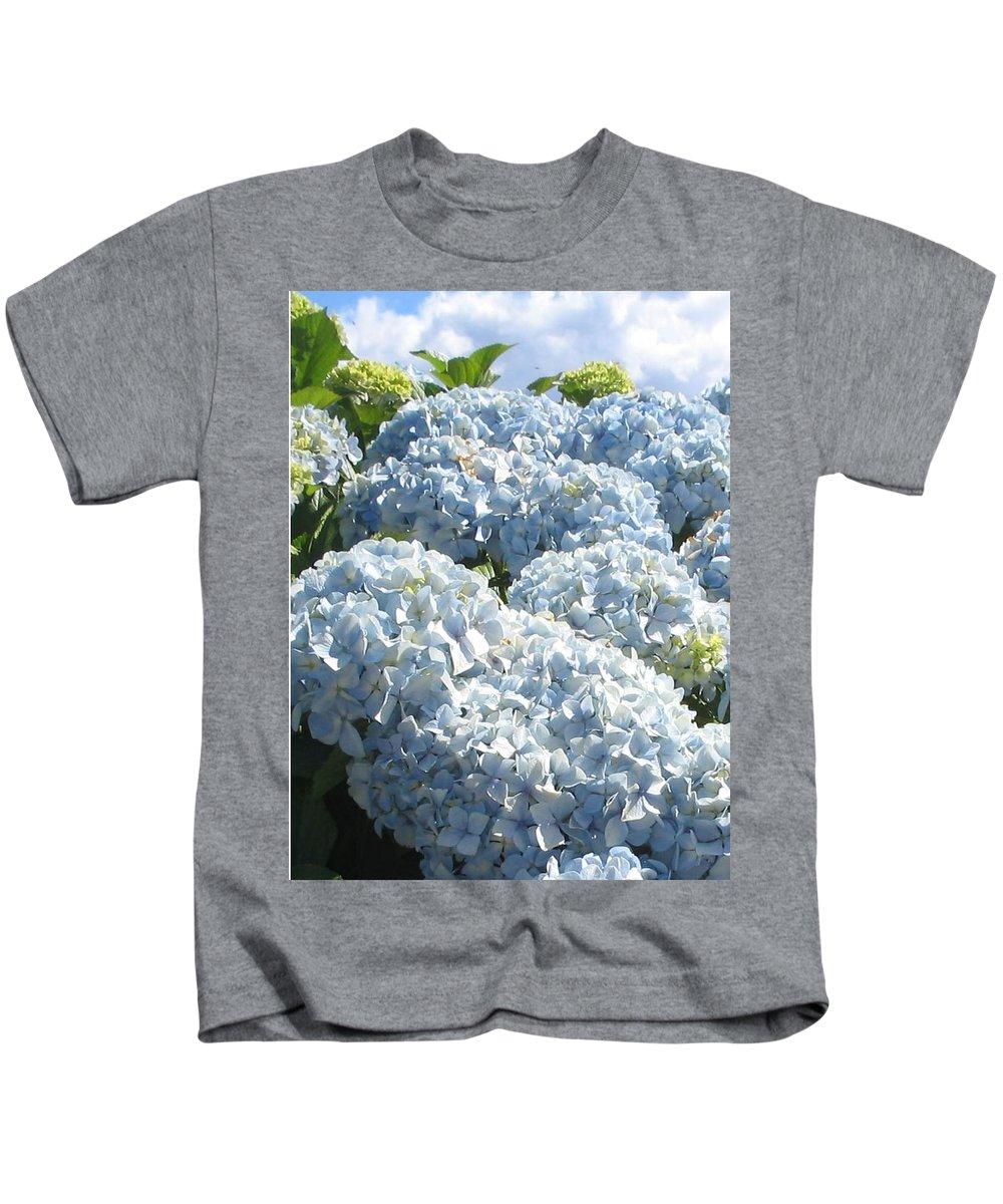 Blue Hydrangea Kids T-Shirt featuring the photograph Hydrangeas by Valerie Josi