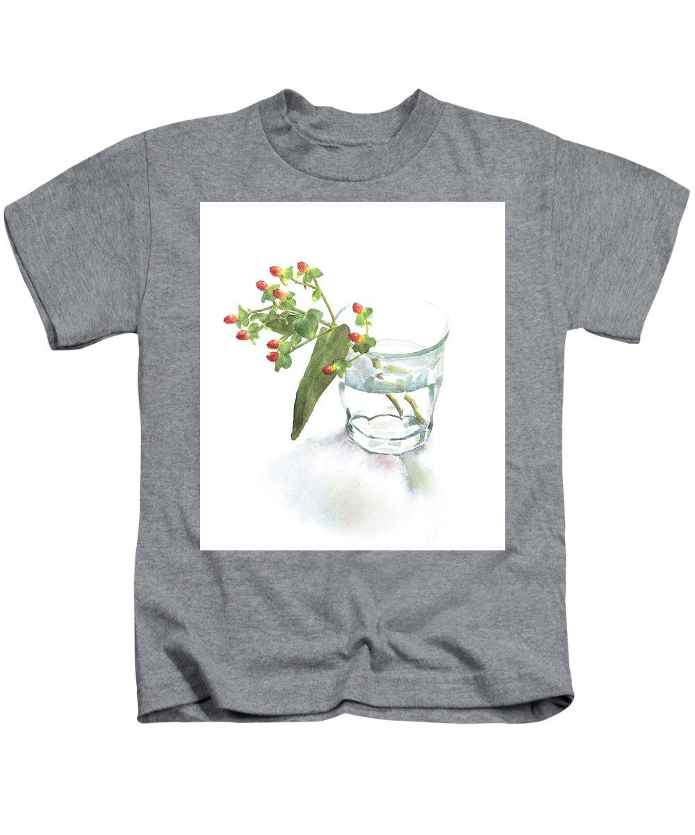 Kids T-Shirt featuring the painting Hypericum by Kiku Iro