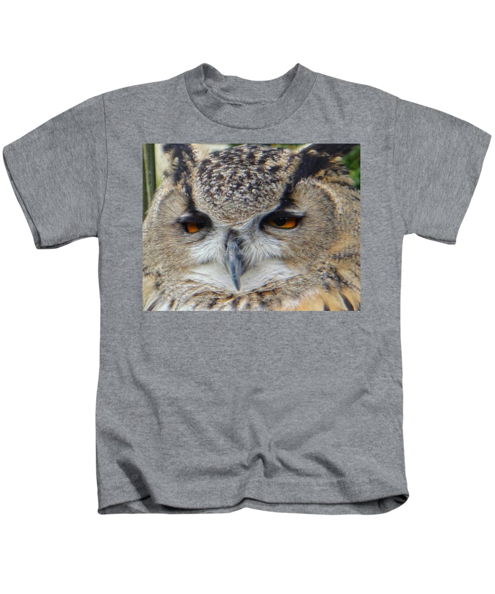 Owl Kids T-Shirt featuring the photograph I Ate Too Much by Donna Blackhall