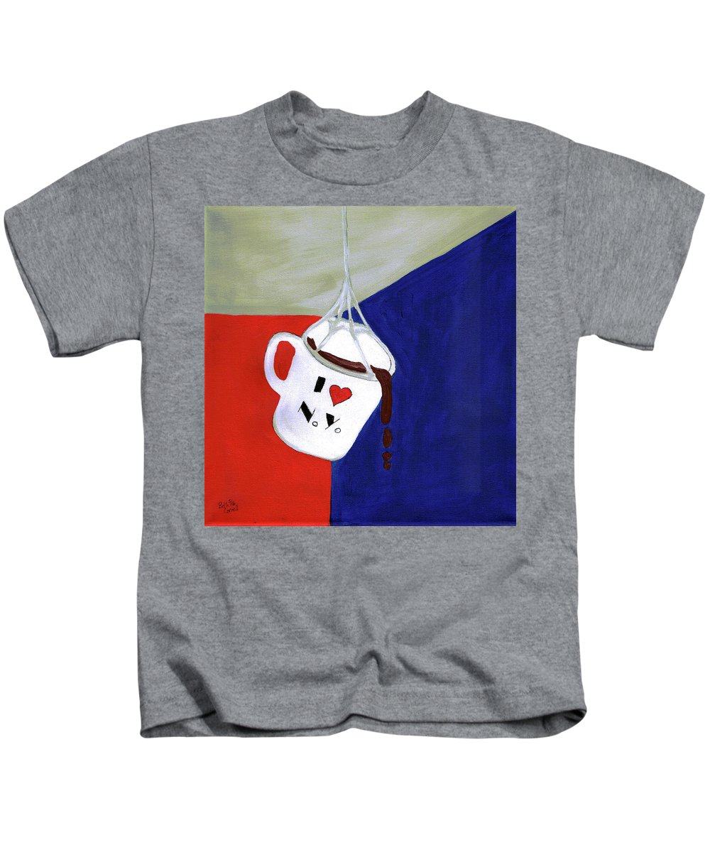 Red Kids T-Shirt featuring the painting I Love New York by Beth Cornell