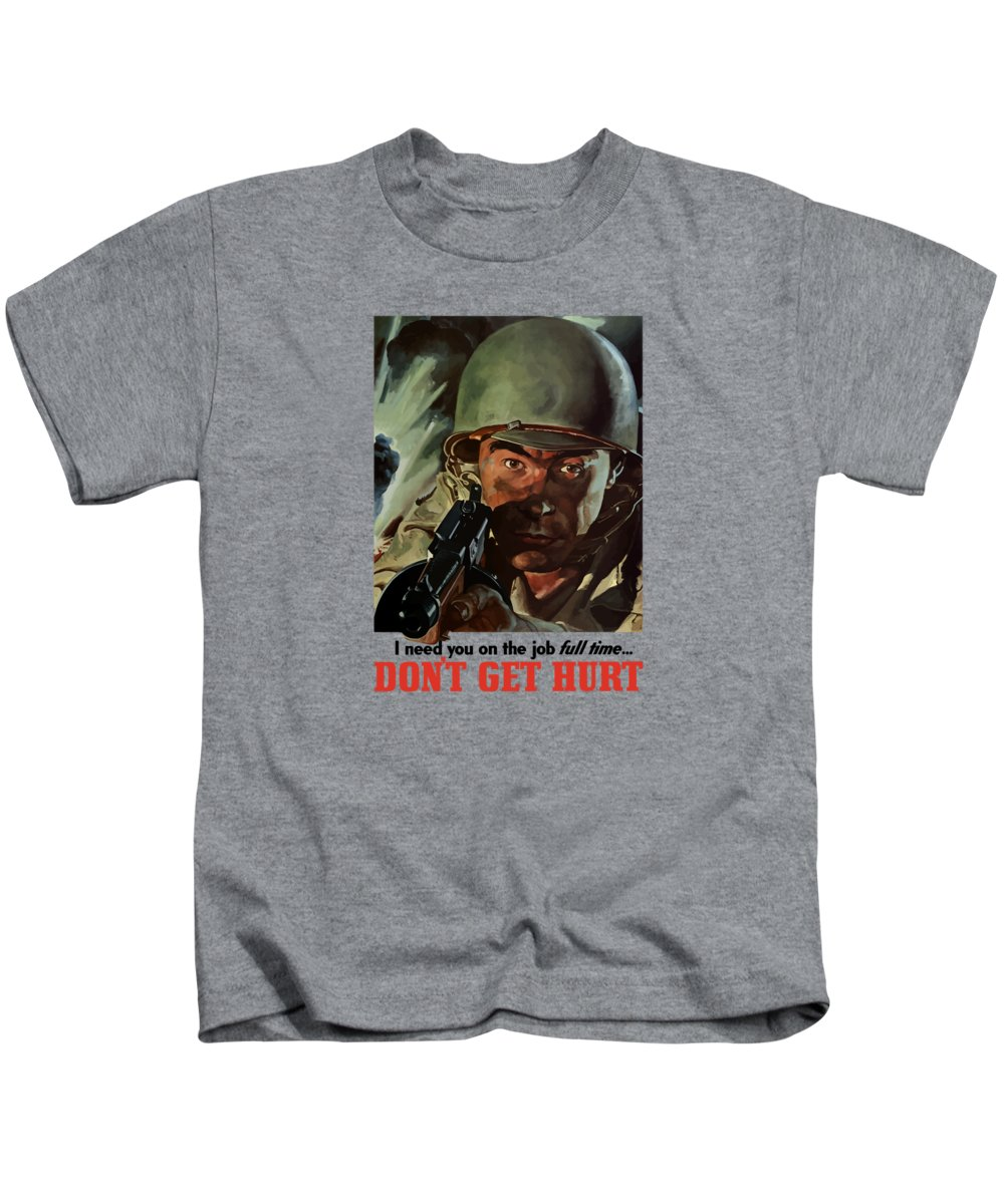 World War Ii Kids T-Shirt featuring the painting I Need You On The Job Full Time by War Is Hell Store
