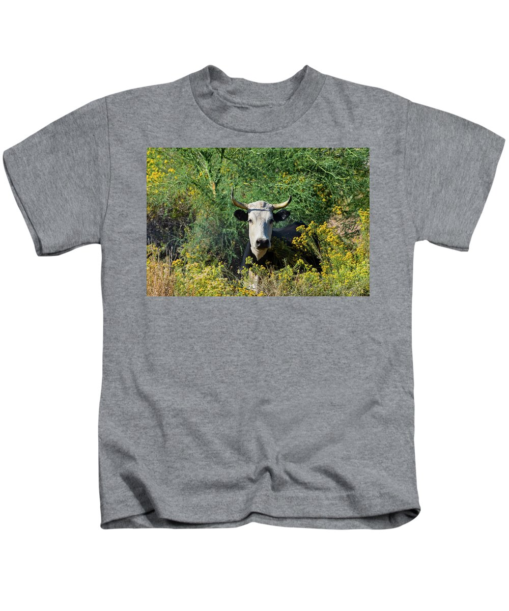 Moo Kids T-Shirt featuring the photograph I Picked These For Moo by Douglas Killourie