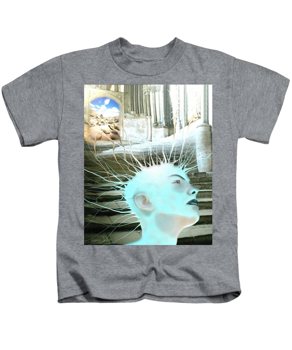 Thoughts Stairs Energy Space Kids T-Shirt featuring the digital art I by Veronica Jackson
