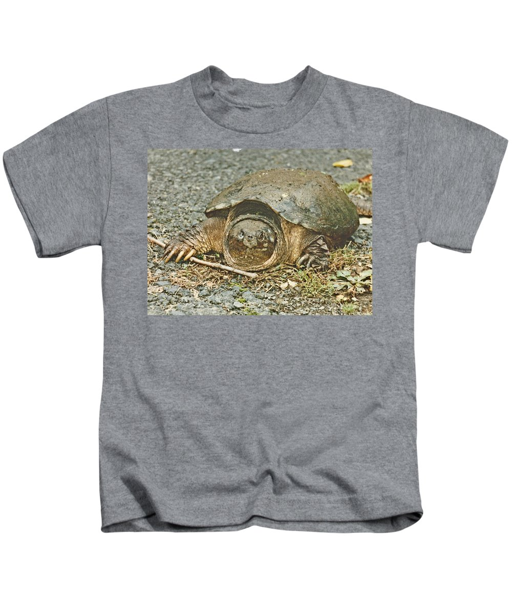 Turtle Kids T-Shirt featuring the photograph I Won The Race by Judith Morris