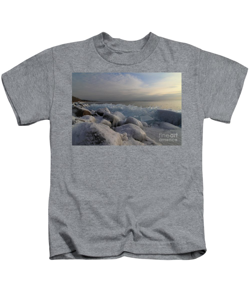 Ice Shove Kids T-Shirt featuring the photograph Ice 2018 # 3 by Rick Rauzi