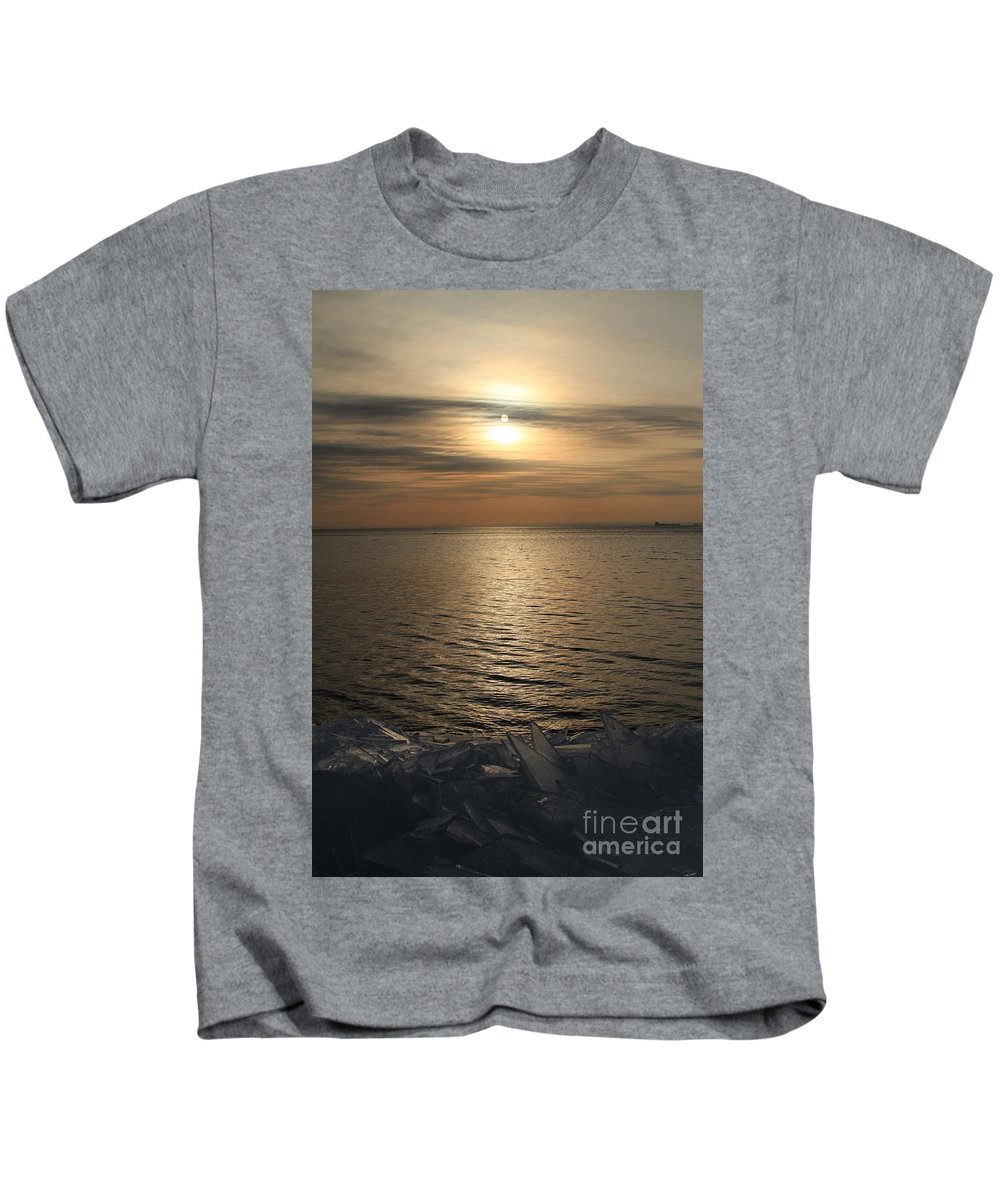 Ice Shove Kids T-Shirt featuring the photograph Ice 2018 # 5 by Rick Rauzi