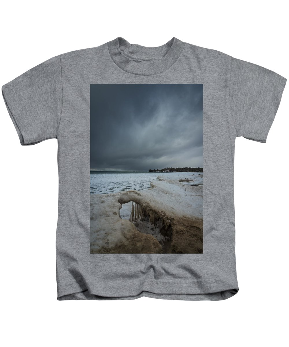 Cawaja Beach Kids T-Shirt featuring the photograph Ice Formations At Cawaja Beach by David Hook