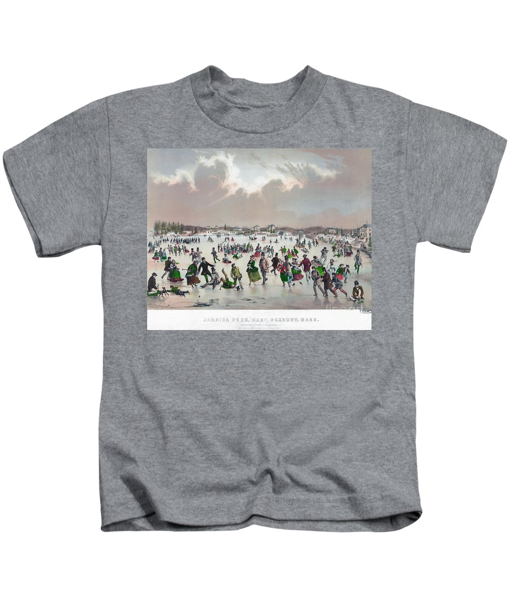 1859 Kids T-Shirt featuring the painting Ice Skating, C1859 by Granger