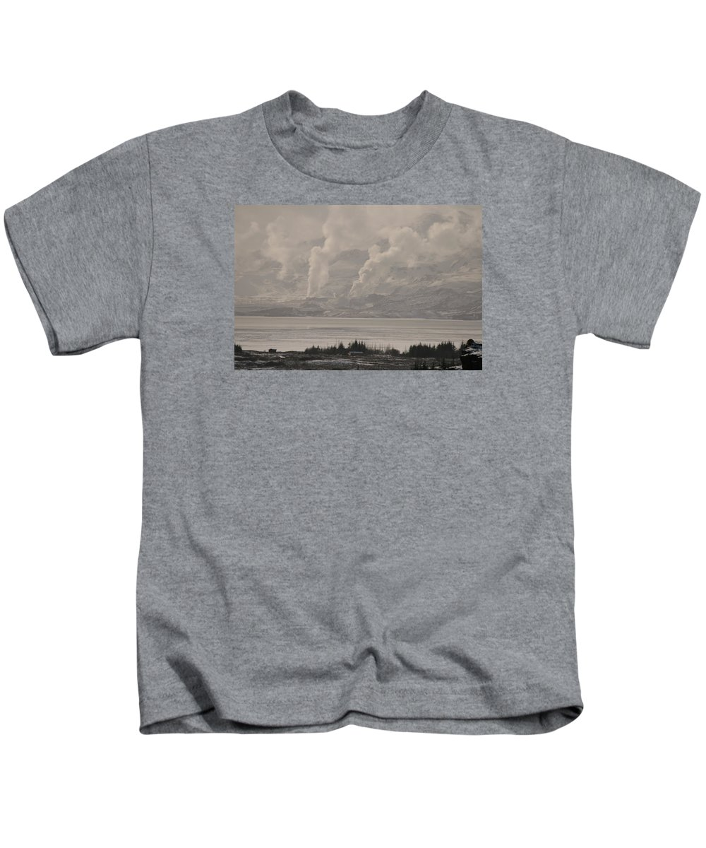 Laurie Lago Rispoli Kids T-Shirt featuring the photograph Smoke Rising by Laurie Lago Rispoli
