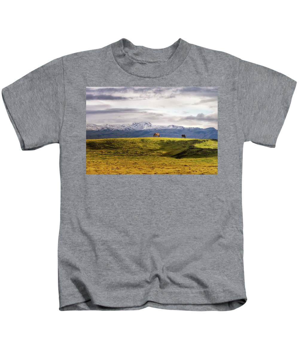 Iceland Kids T-Shirt featuring the photograph Icelandic Horses On The Countryside by Joseph Howard
