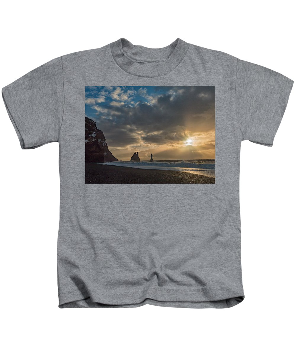 Dyrholaey Kids T-Shirt featuring the photograph Icelandic Seascape by Dan Leffel