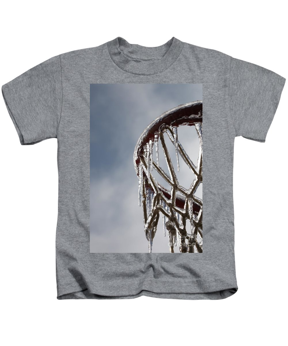 Basketball Kids T-Shirt featuring the photograph Icy Hoops by Nadine Rippelmeyer