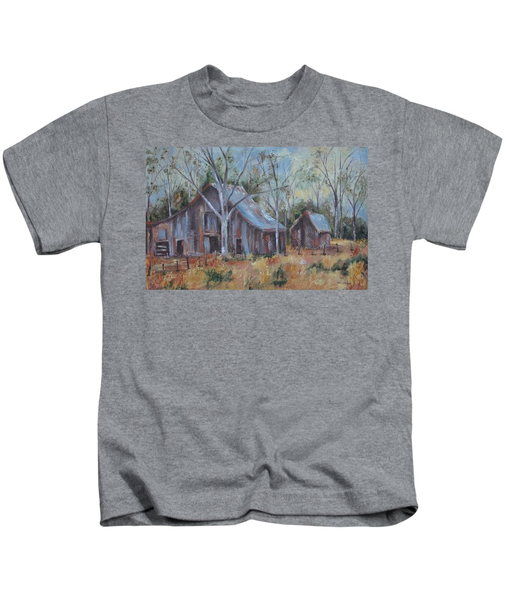 Barns Kids T-Shirt featuring the painting If They Could Speak by Ginger Concepcion