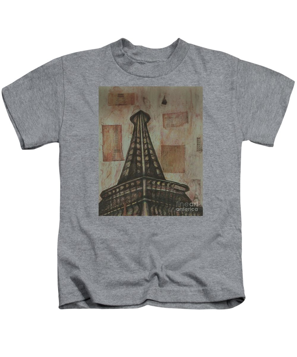 Structures Kids T-Shirt featuring the painting Iffel Tower by Sidra Myers