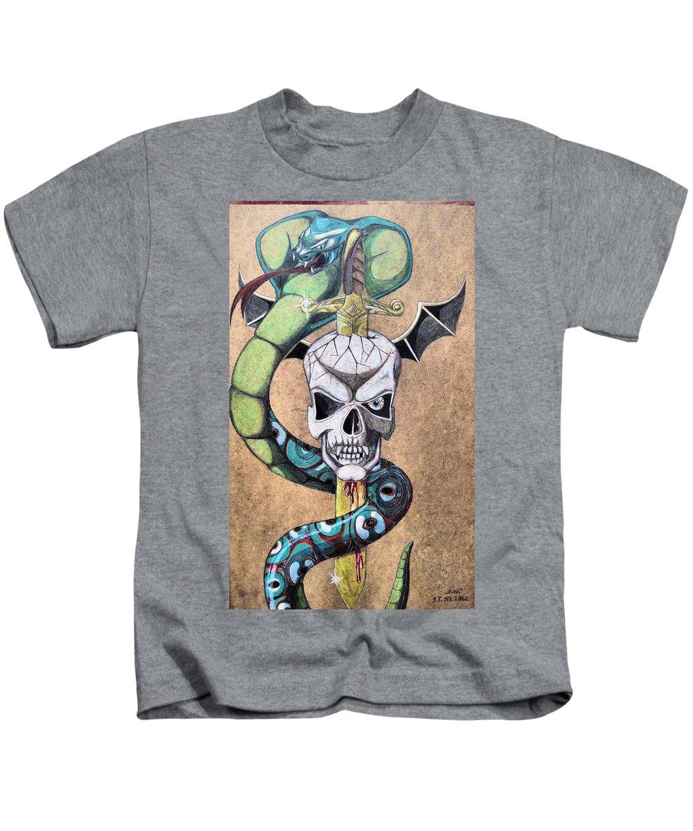Cobra Kids T-Shirt featuring the drawing imaginative Simbol by Alban Dizdari