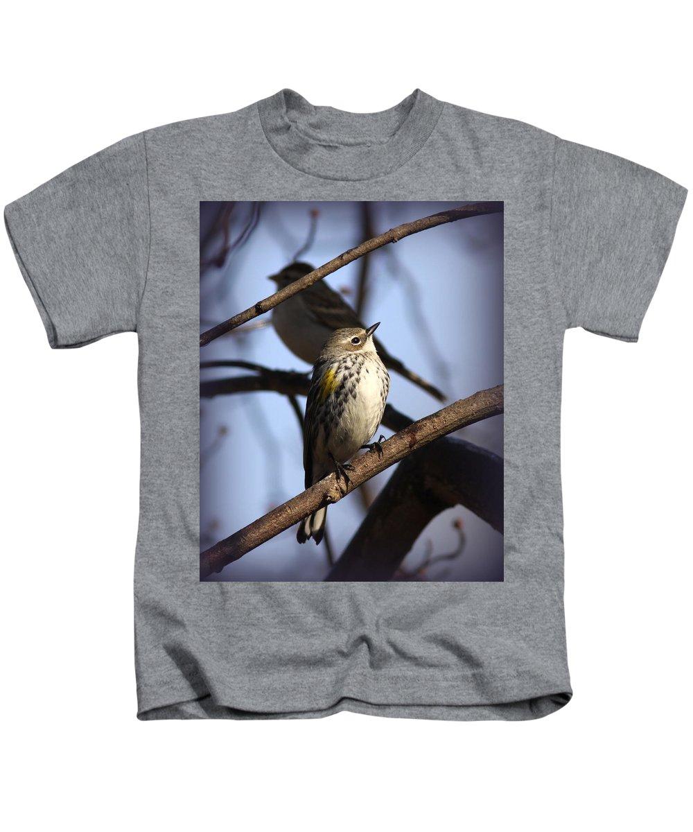 Yellow-rumped Warbler Kids T-Shirt featuring the photograph Img_9896 - Yellow-rumped Warbler by Travis Truelove