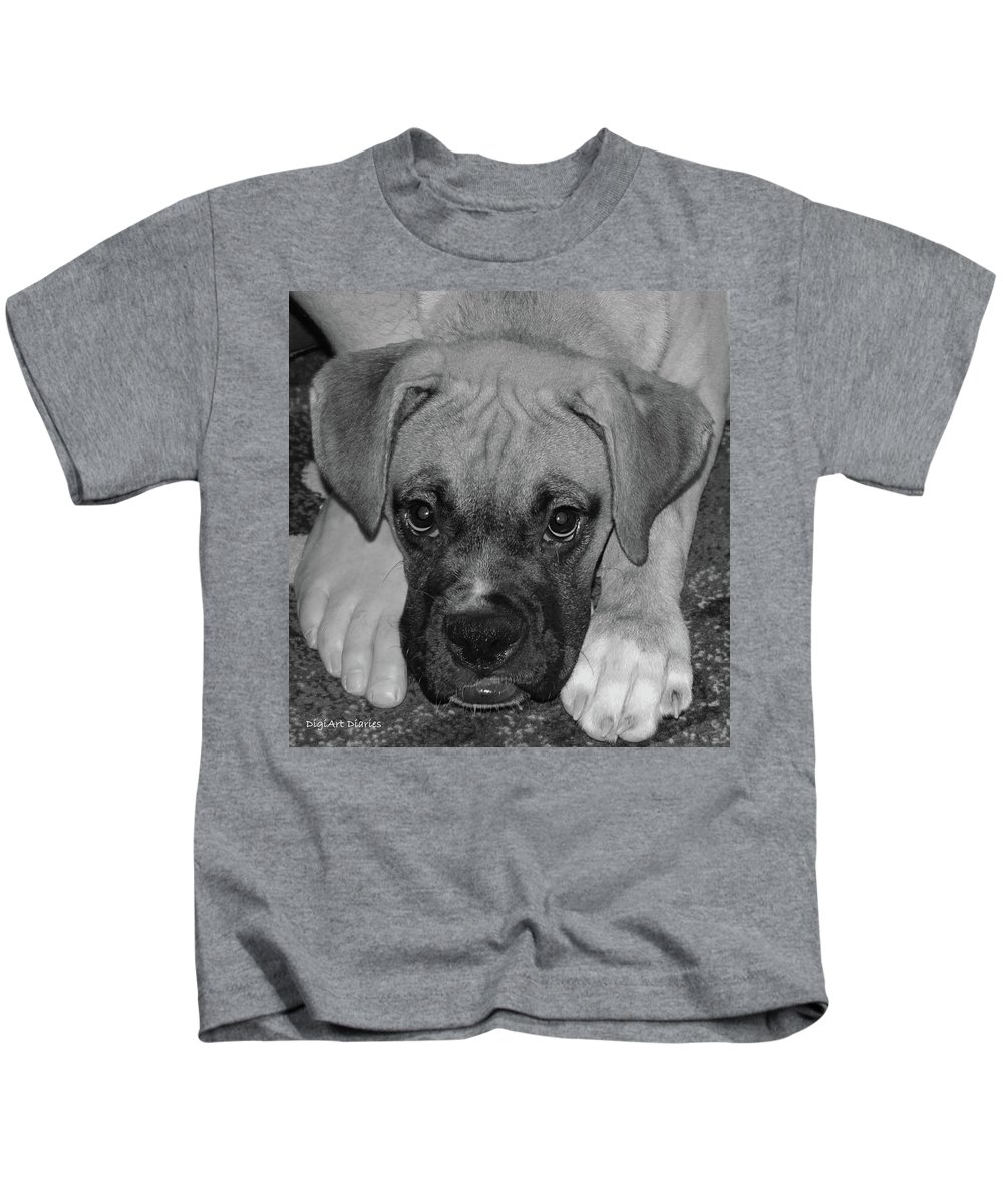 Boxer Kids T-Shirt featuring the digital art Impawsible by DigiArt Diaries by Vicky B Fuller