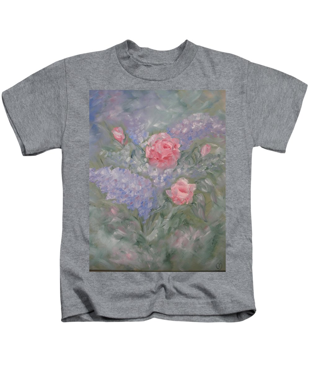 Flowers Kids T-Shirt featuring the painting In Bloom by Carrie Mayotte