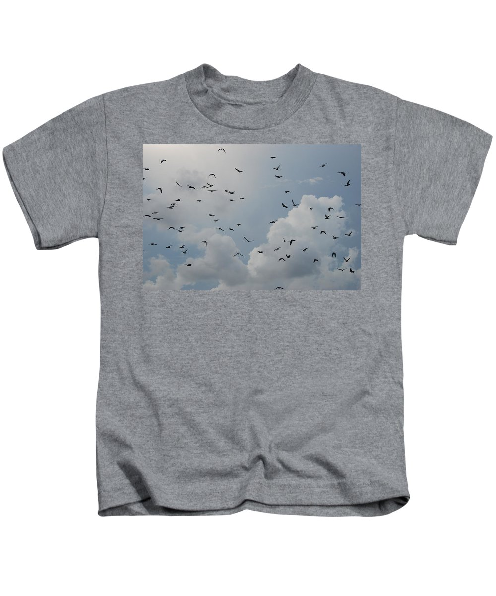 Birds Kids T-Shirt featuring the photograph In Flight by Rob Hans