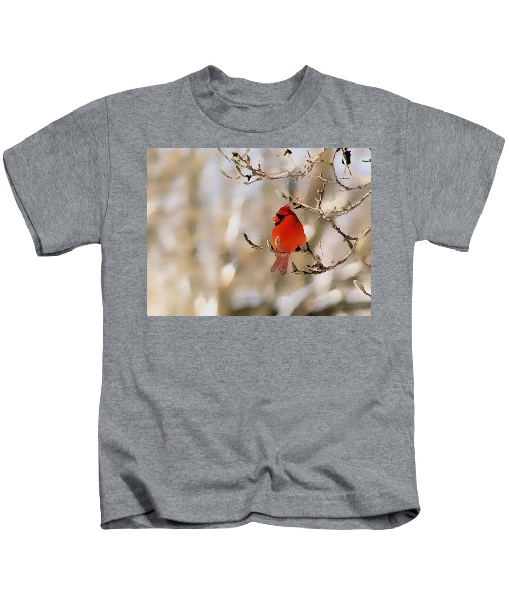 Cardinal Kids T-Shirt featuring the photograph In Red by Gaby Swanson