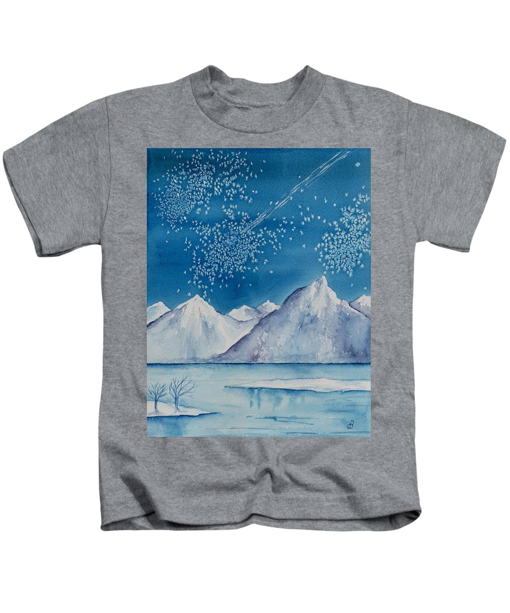 Watercol.or Scenery Landscape Fantasy Ice Snow Cold Winter Mountains Frozen Kids T-Shirt featuring the painting In The Far North by Brenda Owen