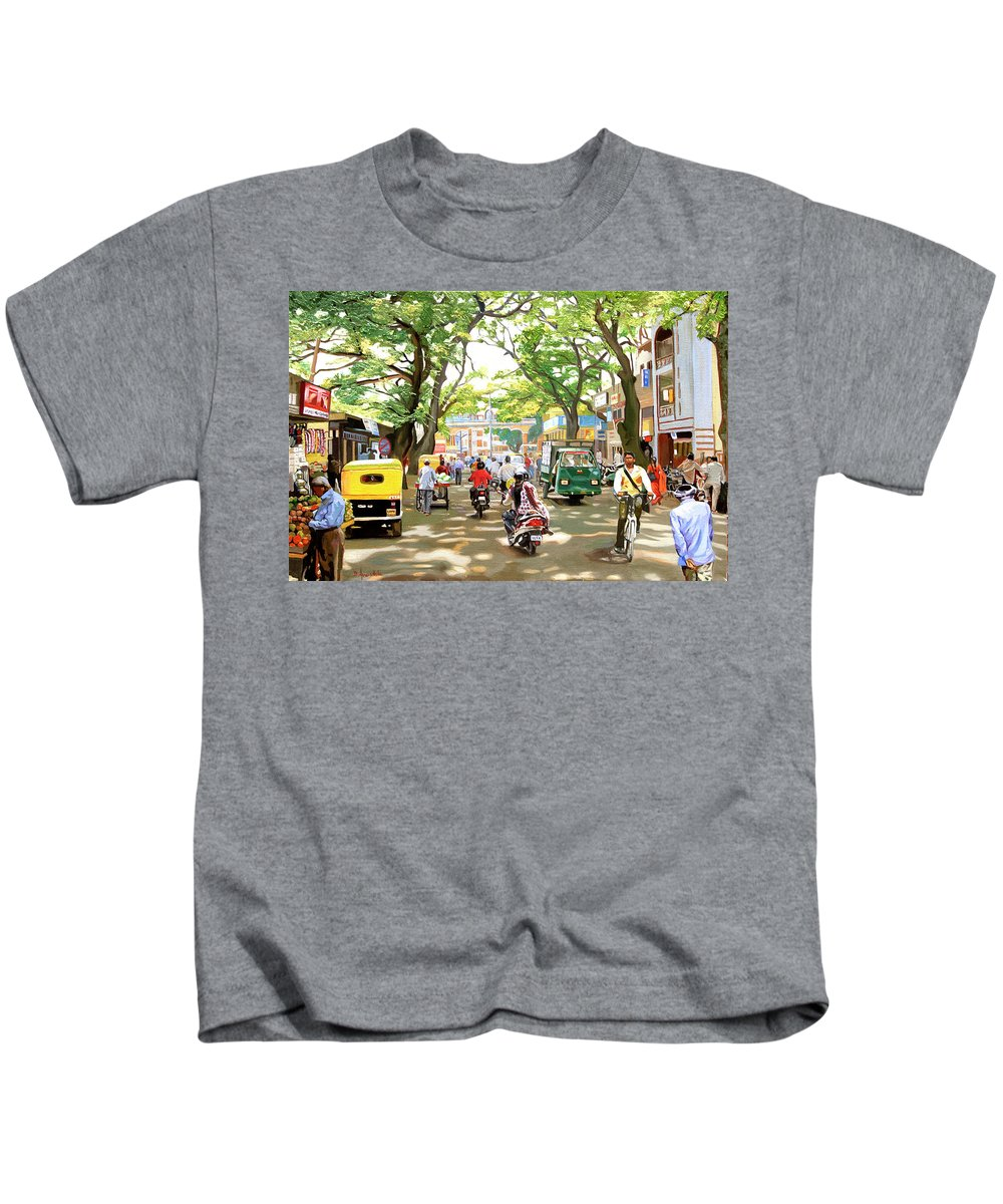 City Scene Paintings Kids T-Shirt featuring the painting India Street Scene by Dominique Amendola