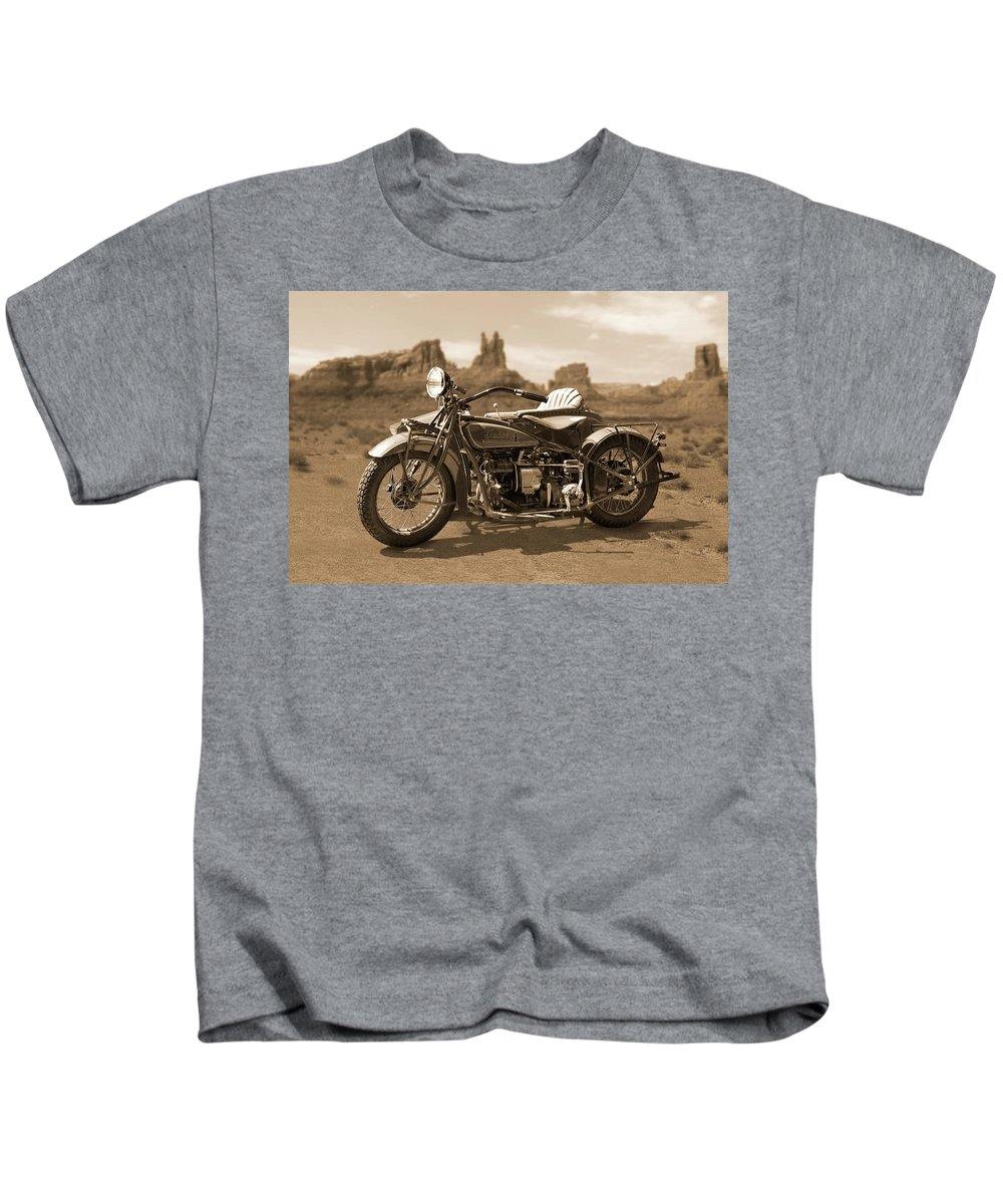 Indian Motorcycle Kids T-Shirt featuring the photograph Indian 4 Sidecar by Mike McGlothlen