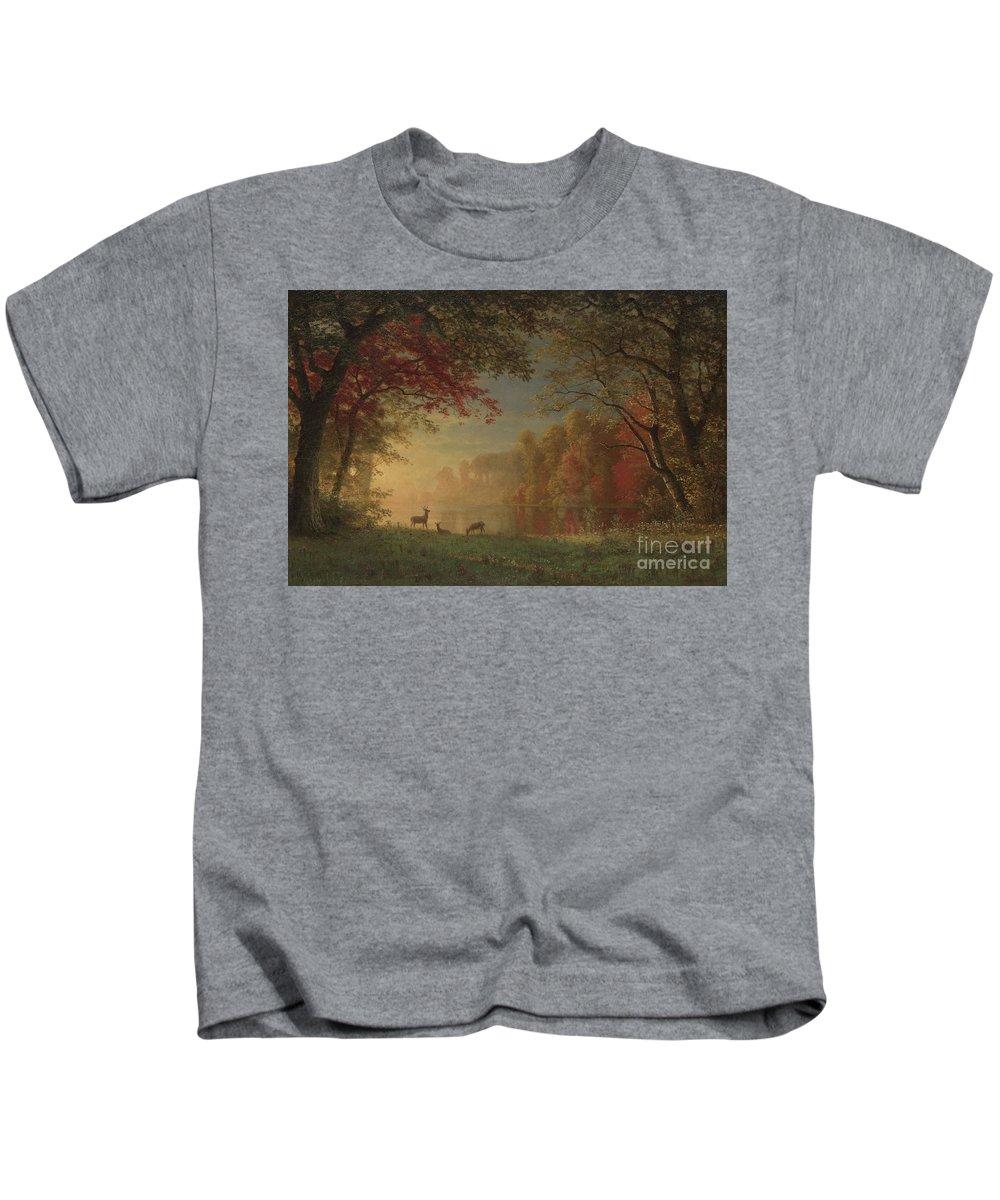 Bierstadt Kids T-Shirt featuring the painting Indian Sunset Deer By A Lake by Albert Bierstadt