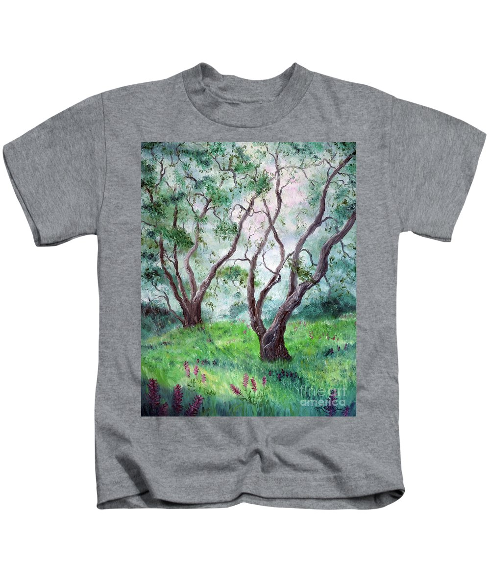 California Kids T-Shirt featuring the painting Indian Warrior Flowers In Spring by Laura Iverson