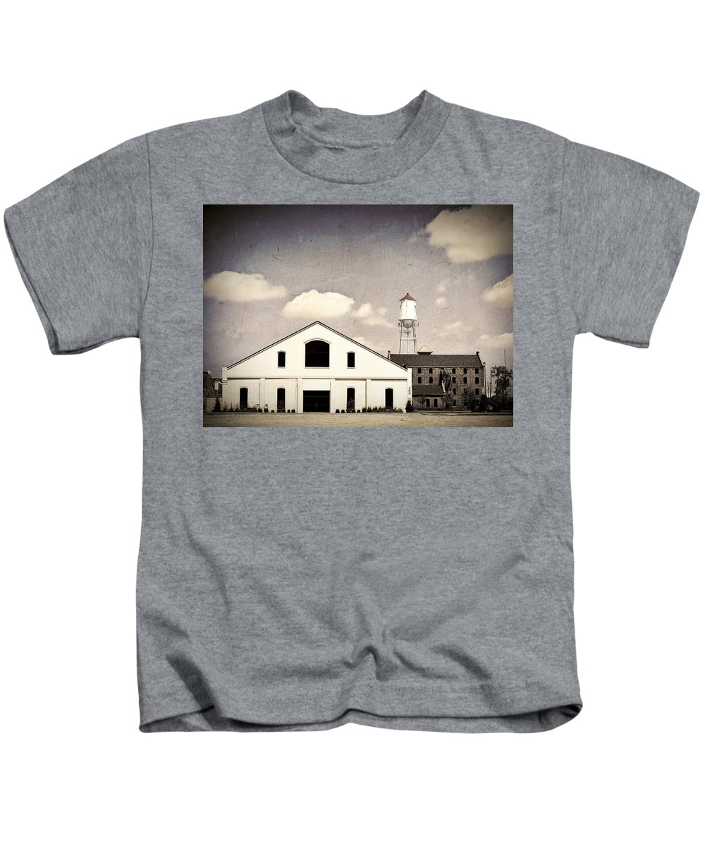 Indiana Kids T-Shirt featuring the photograph Indiana Warehouse by Amber Flowers