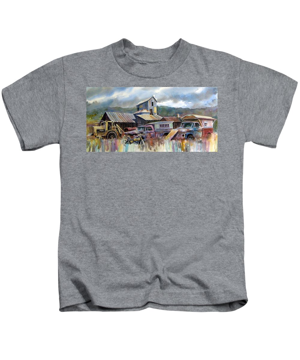 Trucks Kids T-Shirt featuring the painting Industrial Recreation Park by Ron Morrison