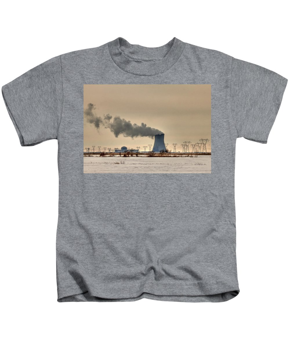 Clouds Kids T-Shirt featuring the photograph Industrialscape by Evelina Kremsdorf