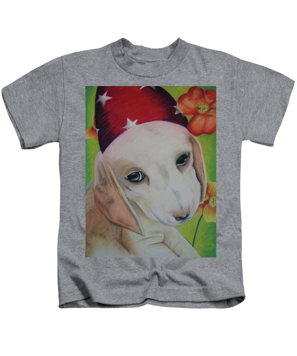 Dog Kids T-Shirt featuring the pastel Indy by Michelle Hayden-Marsan