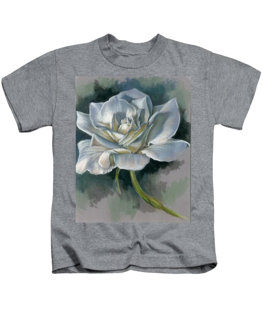 Rose Kids T-Shirt featuring the mixed media Innocence by Barbara Keith