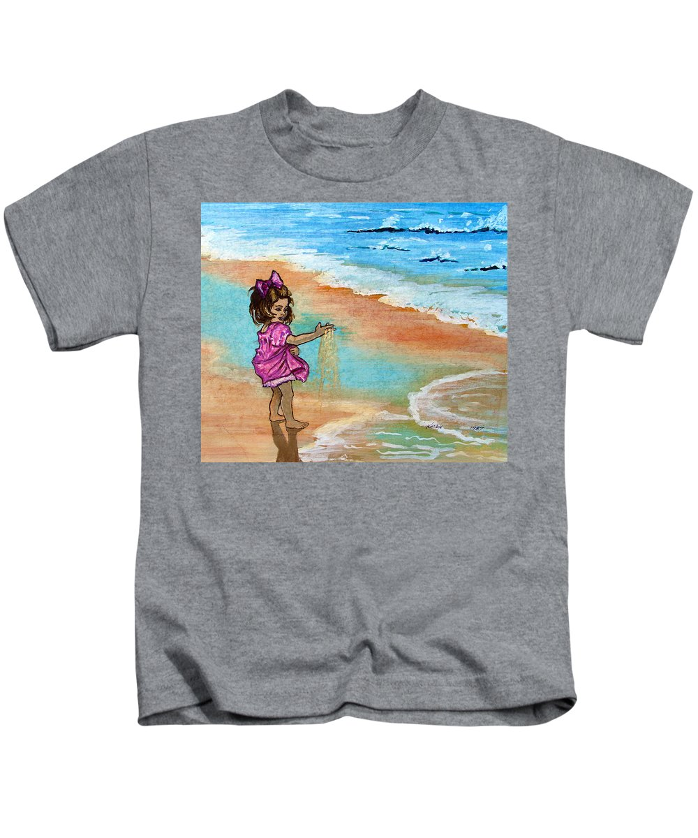 Child Kids T-Shirt featuring the painting Innocence by Karon Melillo DeVega