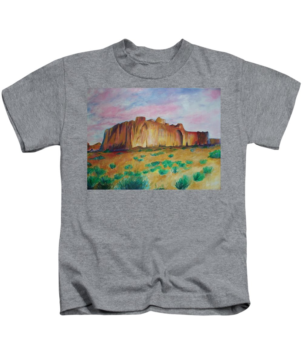 Western Landscapes Kids T-Shirt featuring the painting Inscription Rock by Eric Schiabor