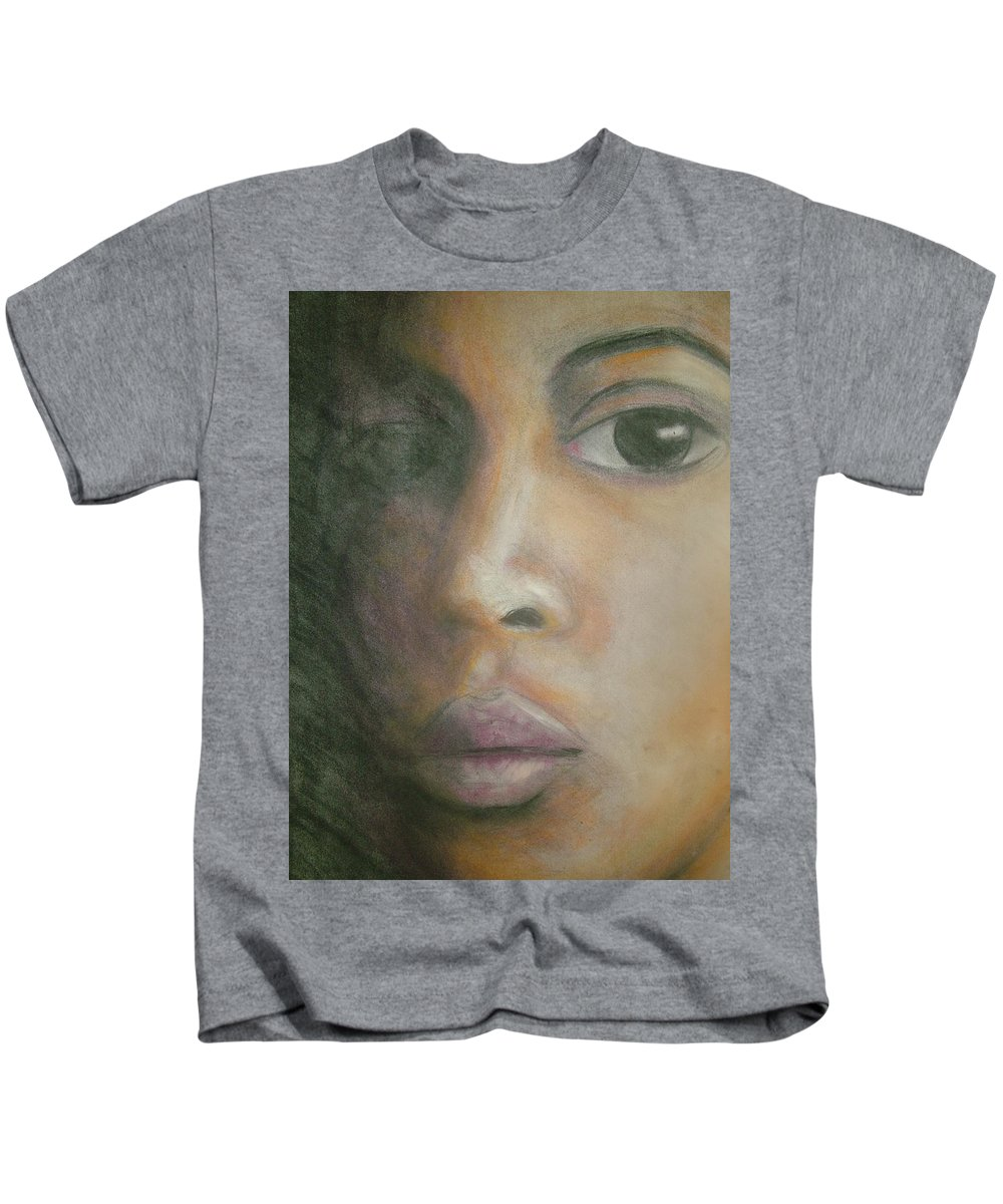 Kids T-Shirt featuring the drawing Inside The Soul by Jan Gilmore