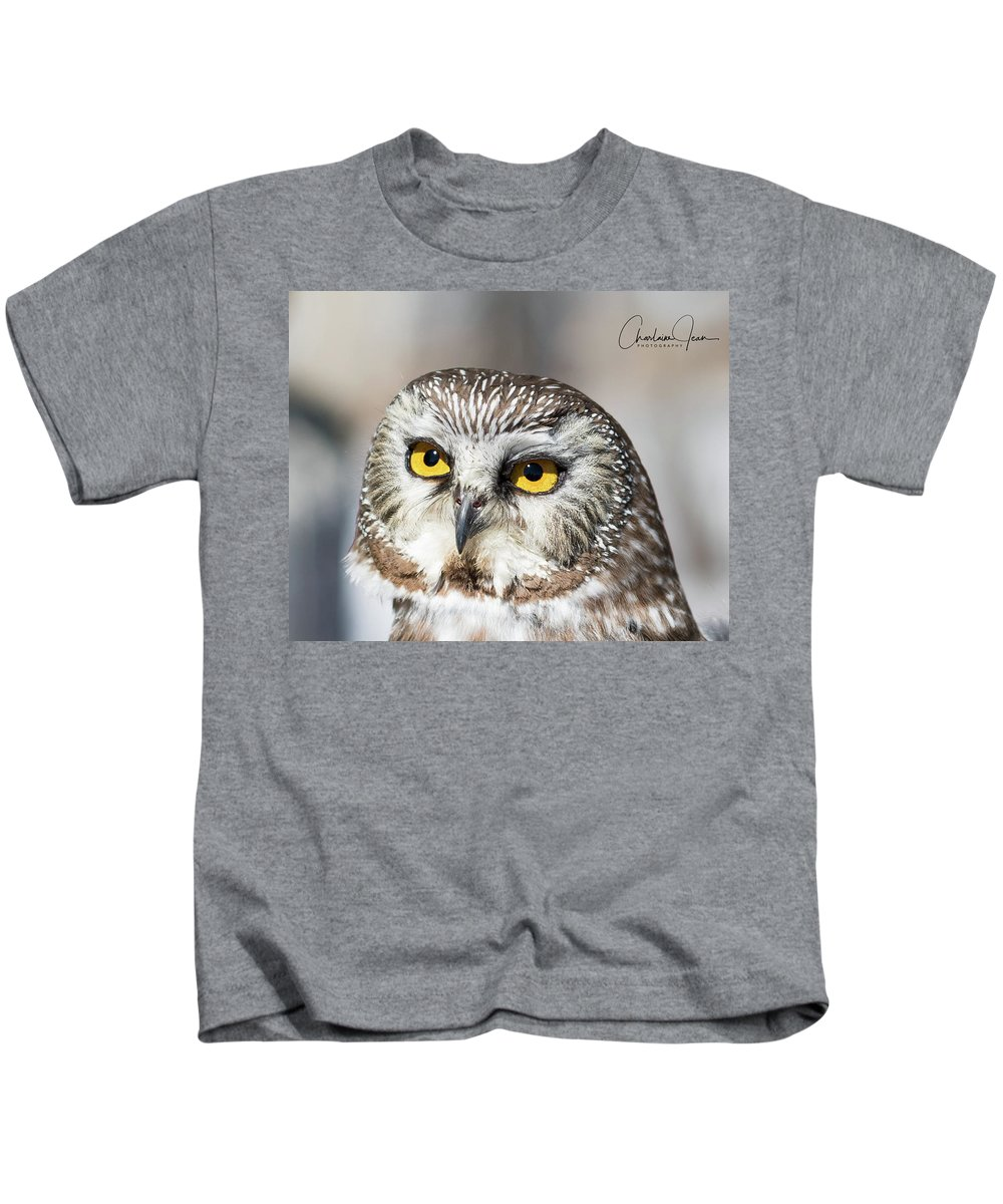 Owl Kids T-Shirt featuring the photograph Intense Look by Charlaine Jean