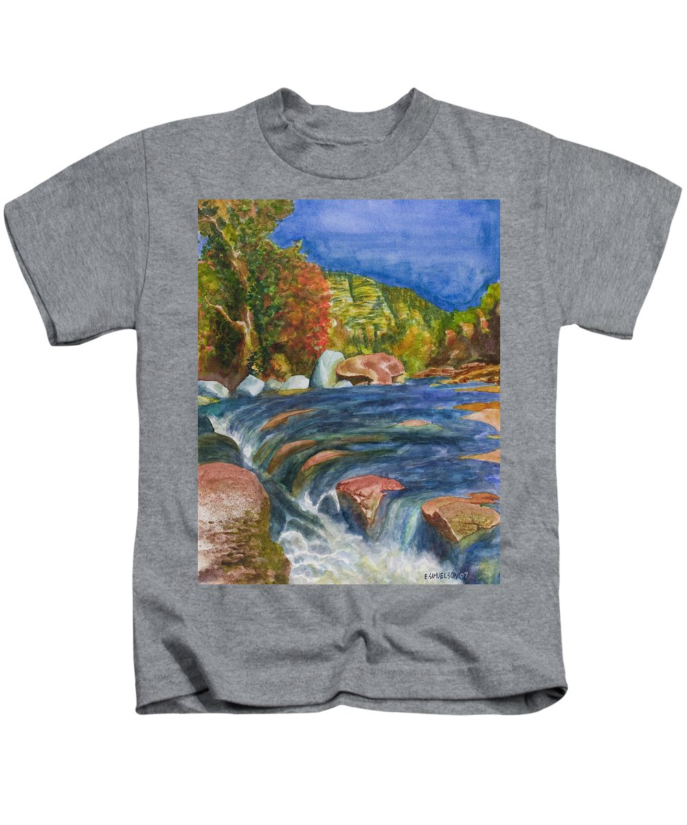 Oak Creek Kids T-Shirt featuring the painting Into Slide Rock by Eric Samuelson