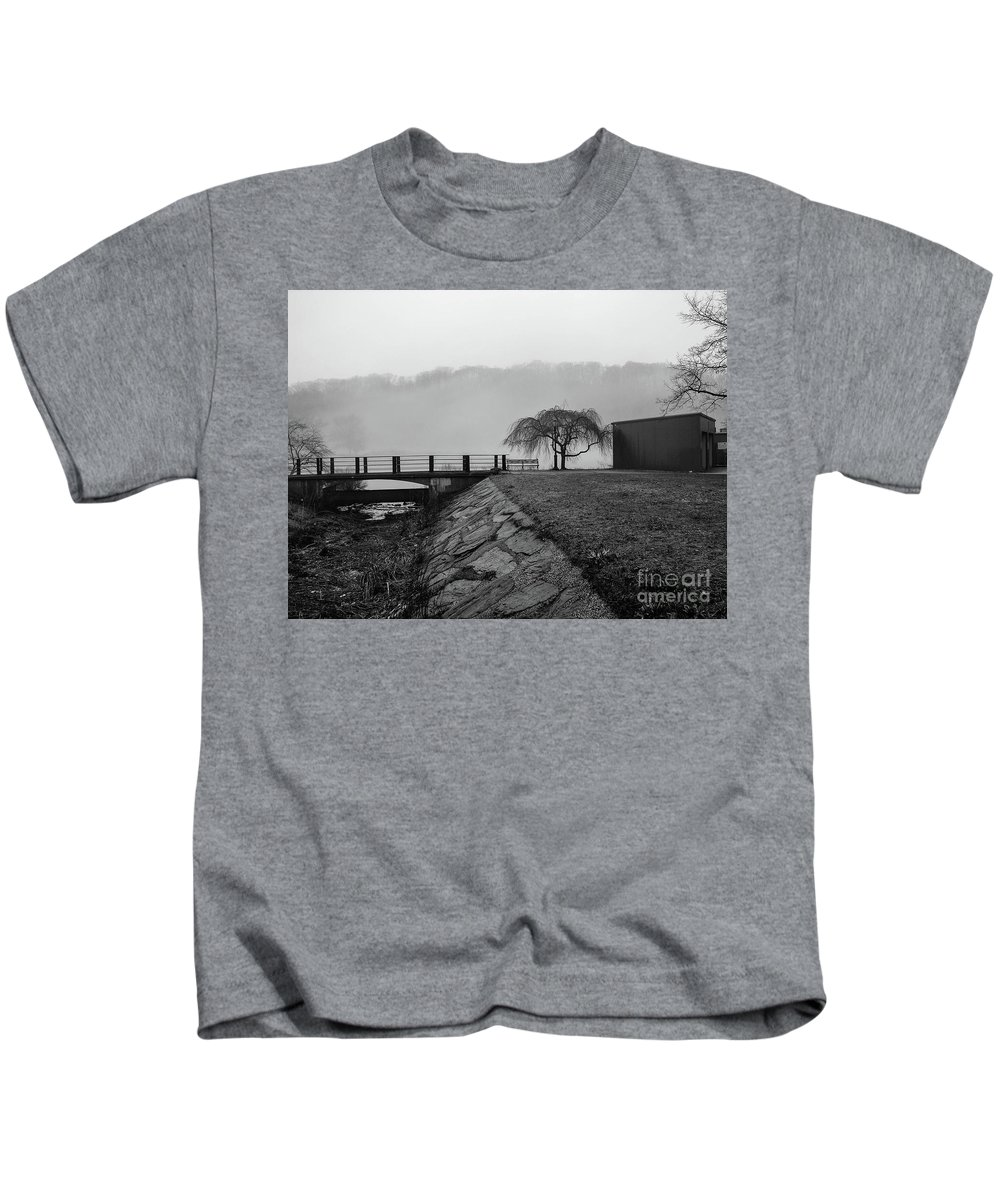 2014 Kids T-Shirt featuring the photograph Inwood Hill Park In Fog by Cole Thompson