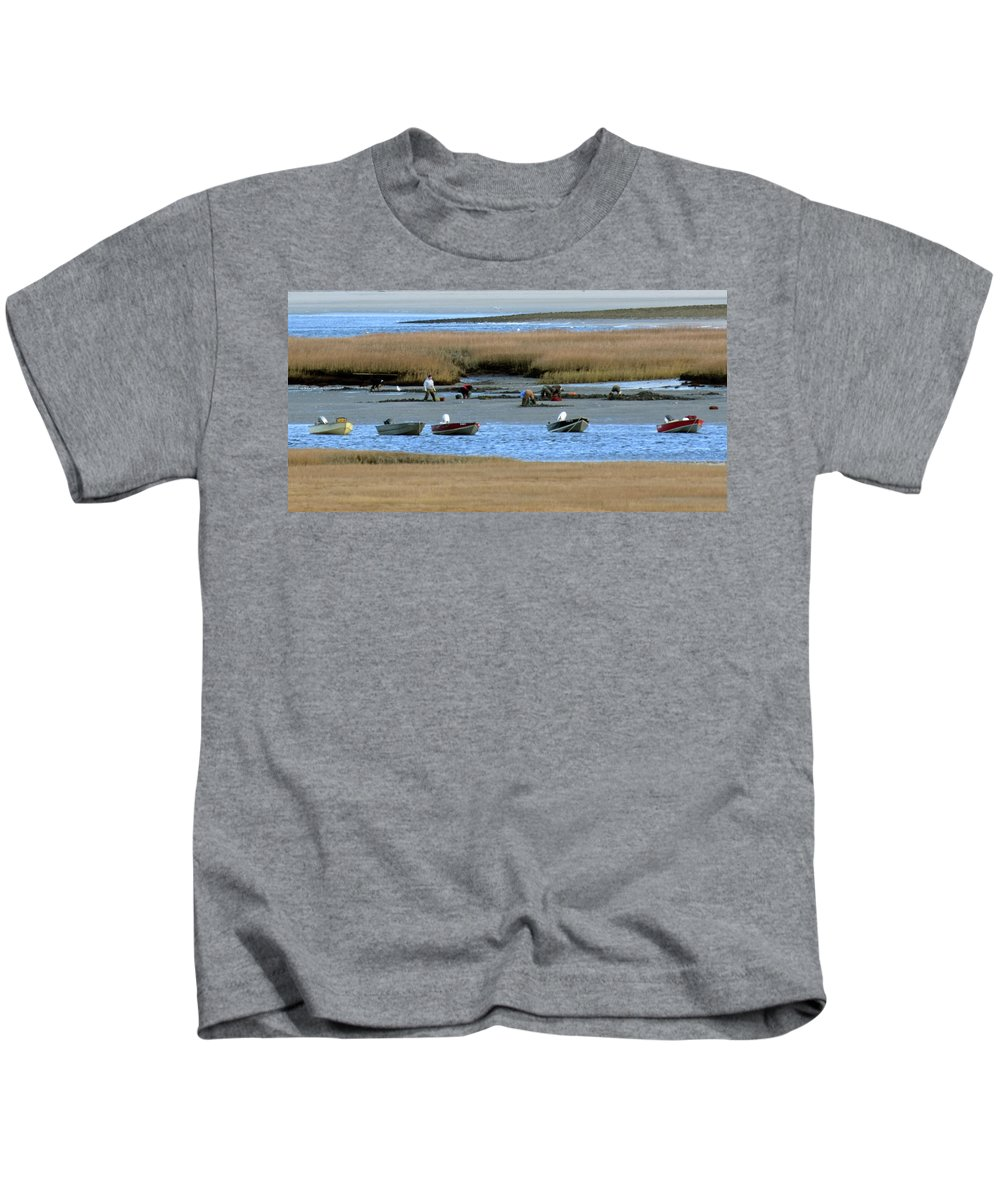 Ipswich River Clammers Salt Marsh Nature Outboard Motor Kids T-Shirt featuring the photograph Ipswich River Clammers 2 by Gary Gibson