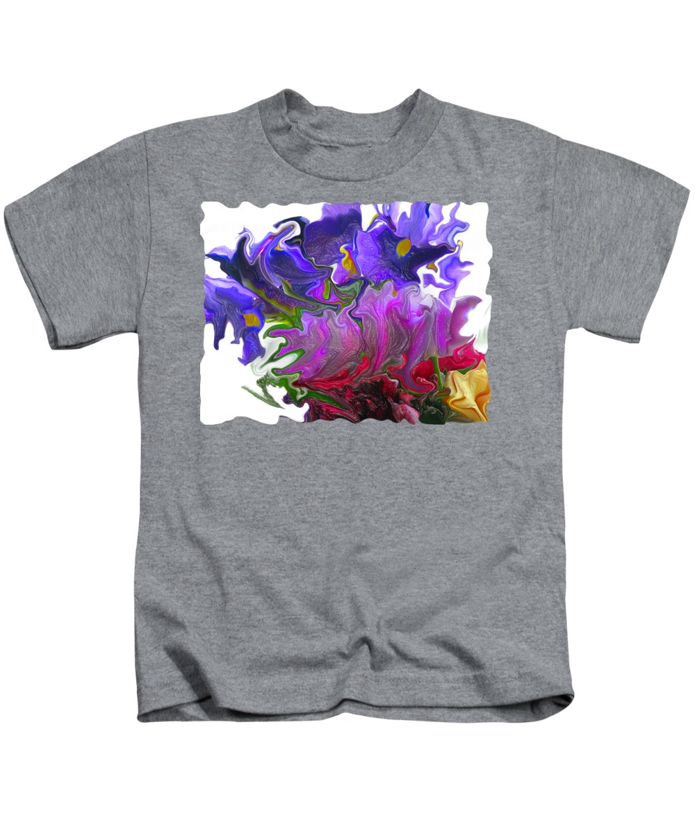 Abstract Kids T-Shirt featuring the photograph Iris And Tulip by Kathy Moll