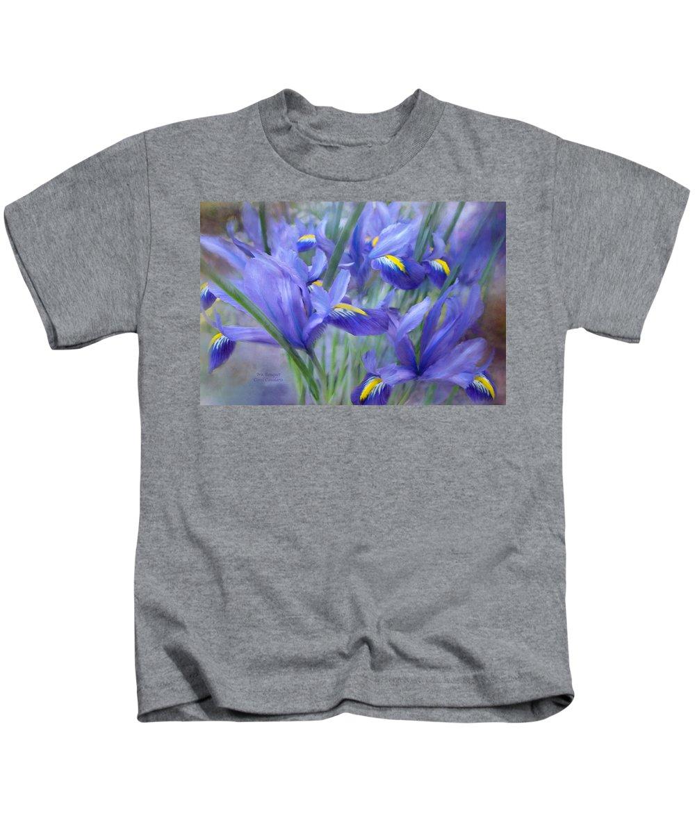 Iris Kids T-Shirt featuring the mixed media Iris Bouquet by Carol Cavalaris