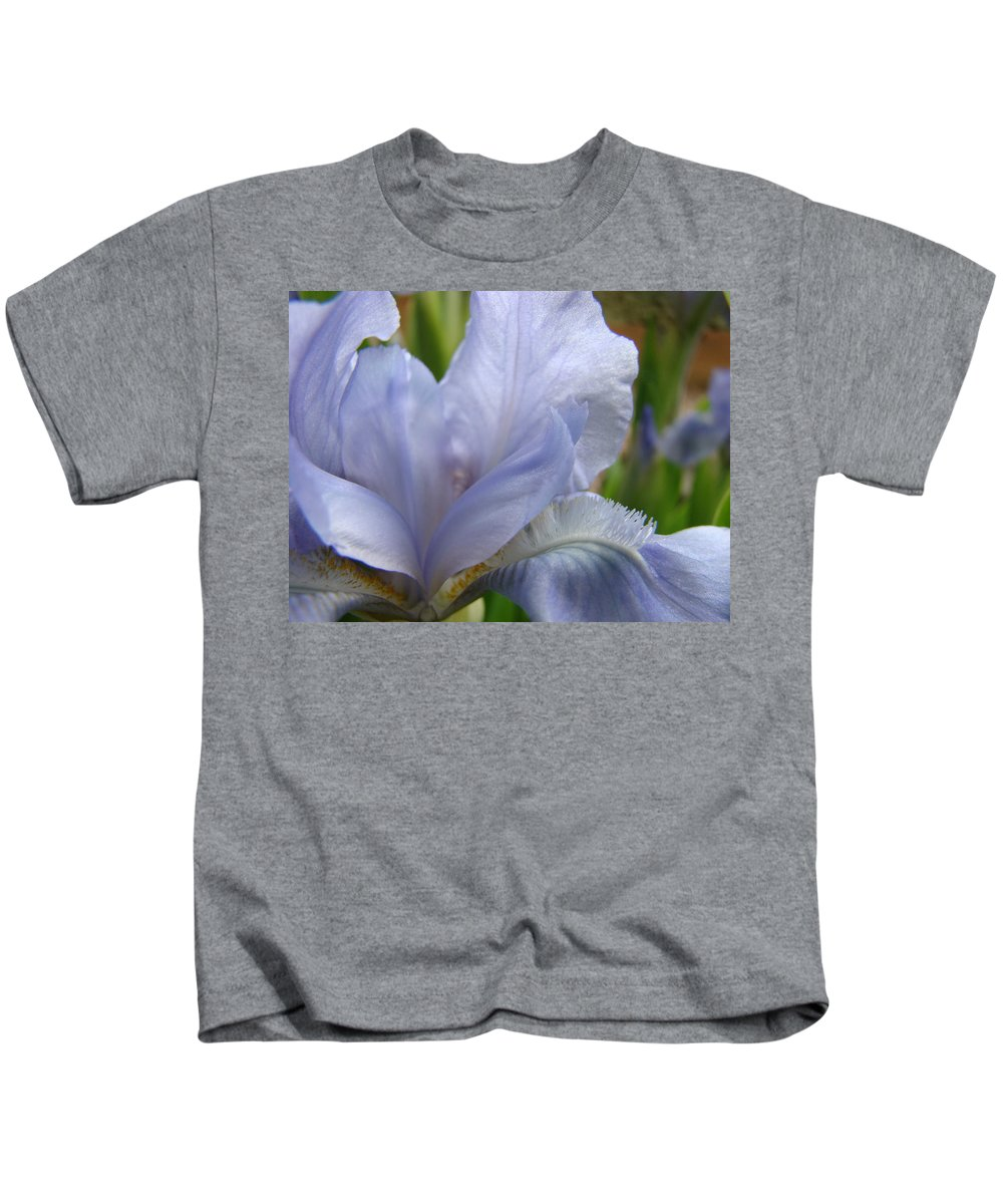 �irises Artwork� Kids T-Shirt featuring the photograph Iris Flower Blue 2 Irises Botanical Garden Art Prints Baslee Troutman by Baslee Troutman