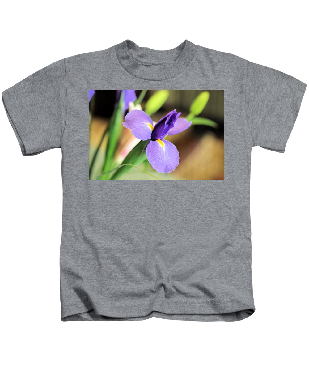 Iris Kids T-Shirt featuring the photograph Iris Unfolding IIi by Theresa Campbell