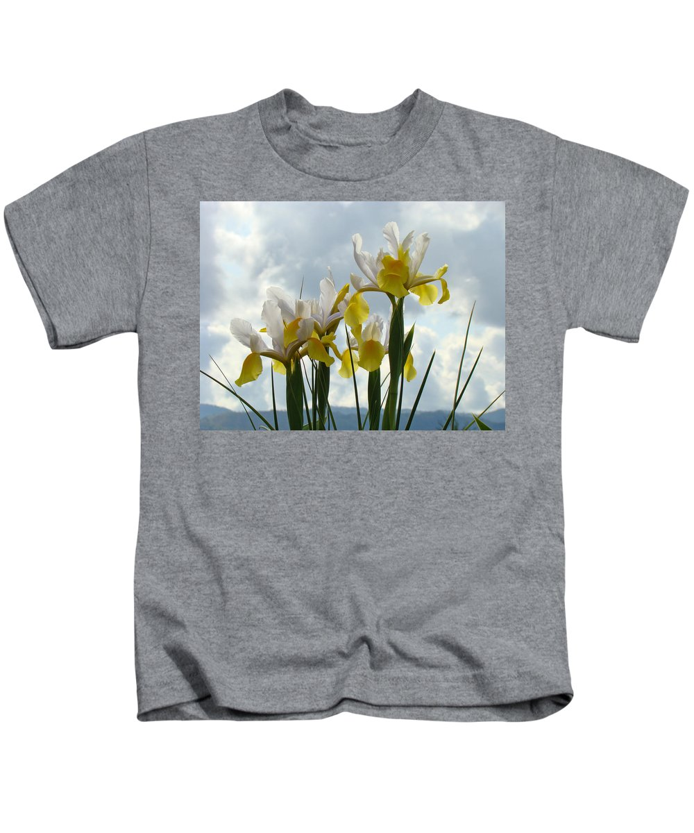 �irises Artwork� Kids T-Shirt featuring the photograph Irises Yellow White Iris Flowers Storm Clouds Sky Art Prints Baslee Troutman by Baslee Troutman