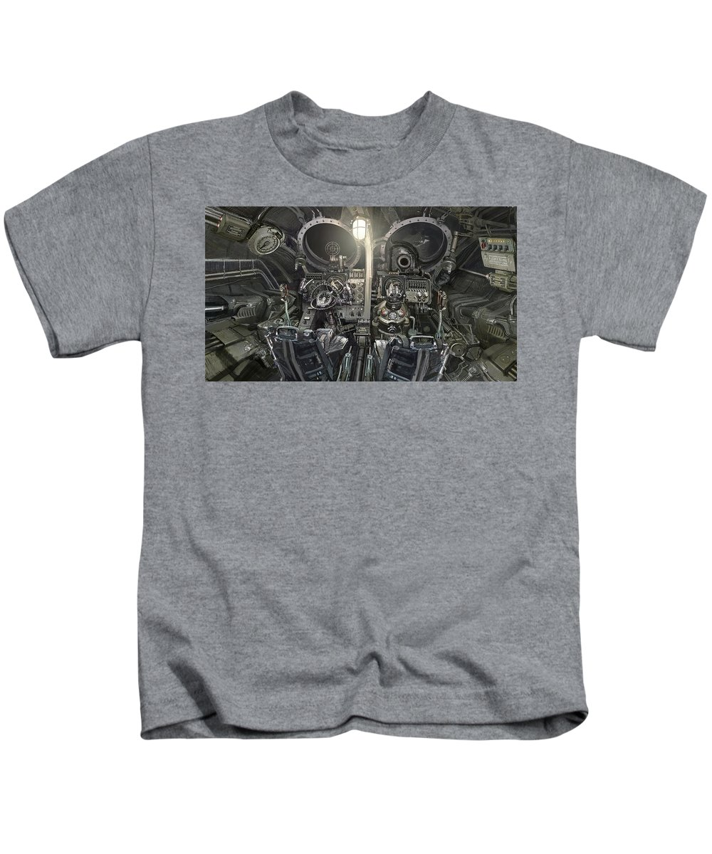 Iron Sky Kids T-Shirt featuring the digital art Iron Sky by Dorothy Binder
